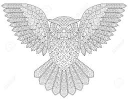 flying owl antistress coloring page black and white