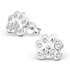 silver studs children s silver paw print ear studs 18872