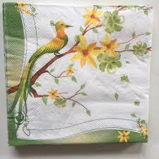 vintage paper napkins tissue cute animals yellow green bird flower