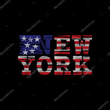 New York Flag New York Typography On A Black Background With The American Flag