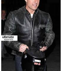 mens leather moto jacket tom cruise distressed black motorcycle leather jacket