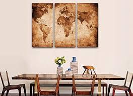 Art Wall Decor World Map Print on Canvas