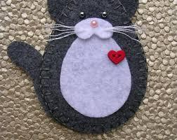 cat ornament felt cat ornament tuxedo cat ornament black