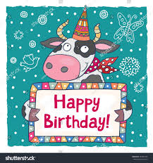 cow greeting cards happy birthday greeting card template stock vector 384483742