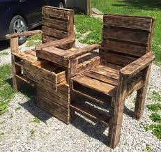 How To Make Pallet Patio Furniture by Wood Pallet Outdoor Bench Double Chair