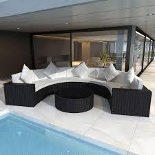 5 seat outdoor rattan half round lounge set black buy sale