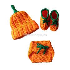 Infant Pumpkin Halloween Costumes Adorable Newborn Pumpkin Costume Handmade Knit Crochet Baby Boy