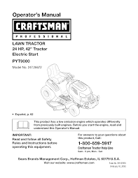 craftsman lawn mower pyt 9000 user guide manualsonline com