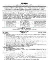 Qualifications In Resume Examples Sample Of Qualifications In Resume Hospitality Resume Example