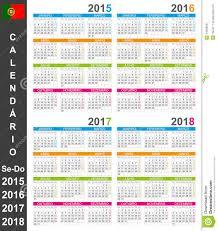 Calendario 2018 Feriados Portugal Calendario 2015 2018 Ilustración Vector Imagen De Agenda