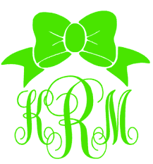 bow monogram bow monogram decal alli monograms custom monograms decals more