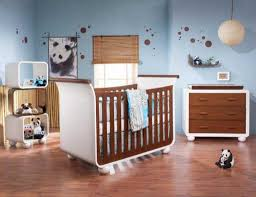 unique baby crib with blue and brown color scheme for baby room