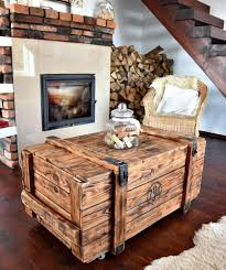 Rustic Chest Coffee Table Coffee Table Vintage Old Army Chest Trunk Box Rustic Brown Cottag