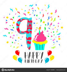 happy birthday card for 9 year kid fun party art u2014 stock vector