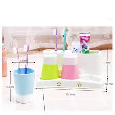 Plastic Bathroom Tumbler Plastic Bathroom Set Accessories 4pcs Set Tumbler Toothpaste