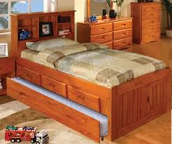 ridgeline twin size bookcase captains bed 3 drawers and trundle