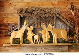 nativity with wooden figures stock photo 114901030 alamy