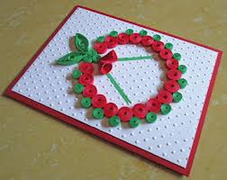 christmas card paper quilling embossed card quilled