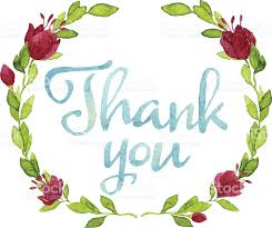 thank you flowers watercolor thank you words in leaves wreath and flowers stock