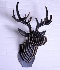 nodic europe style wooden 3d deer hanging wall decoration