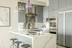 gray kitchen cabinets with white marble countertops 55 gorgeous kitchens with stainless steel appliances photos