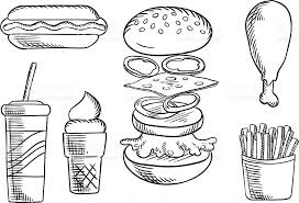 fast food snacks and drink sketch icons stock vector art 506677304