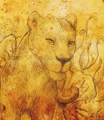 lioness flower pencil drawing color effect computer
