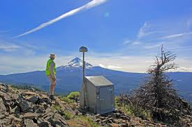 Backyard Zip Line Without Trees by Usgs Geologist Viewing The Northeastern Slope Of Mount Hood From