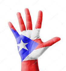 Puertorican Flag Open Hand Raised Multi Purpose Concept Puerto Rico Flag Painte