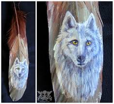 white wolf feather painting by on deviantart