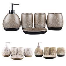 Cheap Bathroom Accessories Luxury 5pcs Bathroom Accessory Set Brown White Champagne Tooth