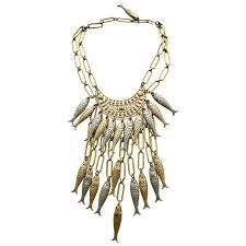 silver fish necklace images 1970s gold and silver fish bib necklace with earring set for sale jpg