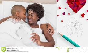 composite image of happy couple lying in bed cuddling stock