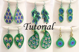 paper earrings peacock design paper quilled earrings tutorial honey s quilling