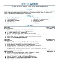 Resume For Forklift Operator Best Order Picker Resume Example Livecareer