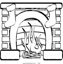 vector clip art of a black and white fireplace with two christmas