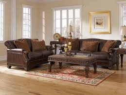 sofa living room design with brown leather sofa brown leather