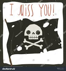 Authentic Pirate Flag Miss You Funny Halloween Holiday Cartoon Stock Vector 311745041
