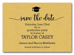 save the date post cards grad hat on shimmery gold graduation save the date cards