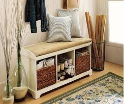 Bench With Baskets Storage Bench With Baskets And Cushion Solid Wood Entryway Bench