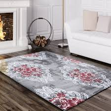 Modern Patterned Rugs by Designer Rug Elegant With Vintage Flowers Pattern Mottled In Grey
