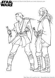A colorier les chevaliers Jedi Anakin Skywalker et QuiGon