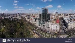 aerial view of kiev shevchenko blvd hilton hotel ukraine stock