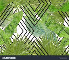 tropical vector seamless pattern banana leaves stock vector