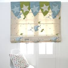 Kids Roman Shades - elegant pattern beige embroidery cotton roman shades for kids
