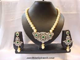 diamond pearl necklace set images American diamond pearl necklace set south india jewels jpg