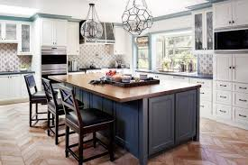 amazing gray kitchen island with butcher block top transitional