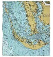 Map Of Pine Island Florida by Sanibel Island U0026 Pine Island Fl Nautical Chart Fleece Throw Blanket