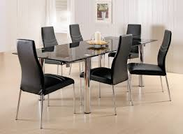 glass kitchen table sets simple ultra stylish black upholstered leather chairs and sleek glass dining room table design idea