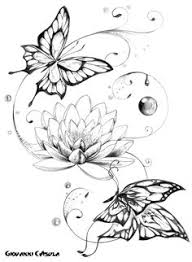 butterfly with flower designs tribal flower and butterfly